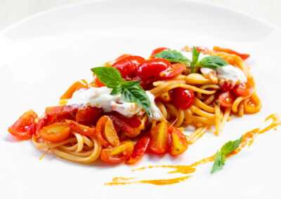 Linguine with Burrata Cheese and Roasted Cherry Tomatoes